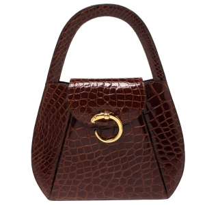 Cartier Brown Crocodile Panther Logo Satchel with Wallet