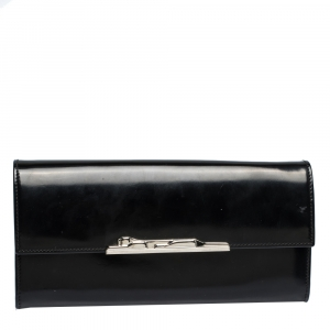 Cartier Black Patent Leather Flap Continental Wallet
