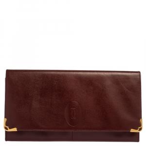 Cartier Burgundy Leather Envelope Flap Clutch