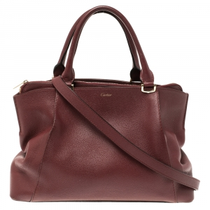 Cartier Burgundy Leather C De Cartier Small Tote