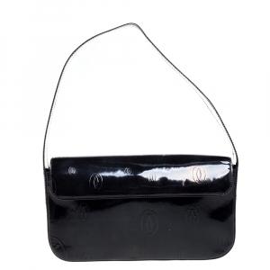 Cartier Black Embossed Patent Leather Flap Baguette Shoulder Bag