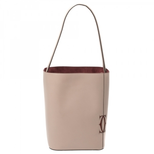 Cartier Old Rose Leather Must C Bucket Bag