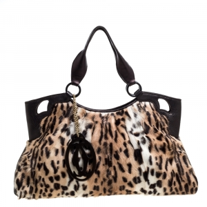 Cartier Beige/Dark Brown Leopard Print Calfhair/Lizard and Leather Marcello De Cartier Bag