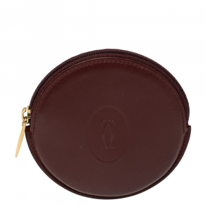Cartier Burgundy Leather Must De Round Coin Purse Case