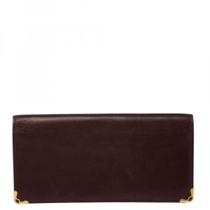 Cartier Burgundy Leather Must de Cartier Bifold Long Wallet