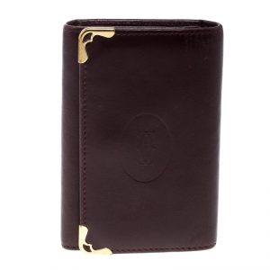 Cartier Burgundy Leather Must De Cartier Key Holder