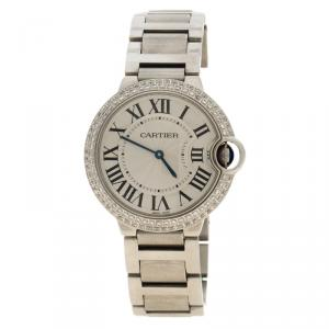 Cartier Grey Stainless Steel & Diamonds Ballon Bleu De Cartier Women's  Wristwatch 36 mm