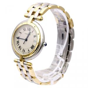 Cartier Ivory 18K Yellow Gold & Stainless Steel Panthere Women's Wristwatch 30MM