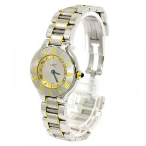 Cartier Ivory Stainless Steel Must 21 Women's Wristwatch 28MM