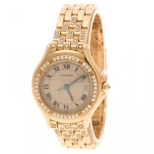 Cartier Cream 18K Yellow Gold and Diamonds Cougar Women's Wristwatch 26MM