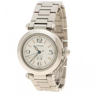 Cartier White Stainless Steel Pasha de Cartier Women's Wristwatch  35 mm