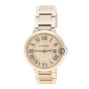 Cartier White Stainless Steel Ballon Bleu De Cartier Women's Wristwatch 36 mm