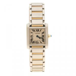 Cartier Cream 18K Gold and Stainless Steel Tank Francaise Women's Wristwatch 20 mm
