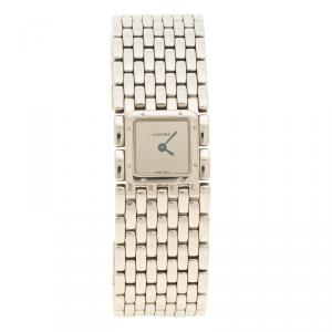 Cartier Silver Stainless Steel Panthere Ruban Women's Wristwatch 21 mm