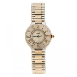 Cartier White Stainless Steel Must De Cartier 21 Women's Wristwatch 28 mm