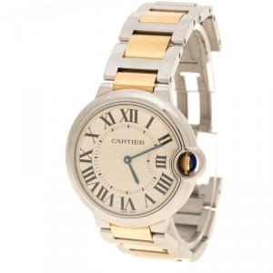 Cartier Silver White 18K Yellow Gold and Stainless Steel Ballon Bleu de Cartier Women's Wristwatch 36 mm