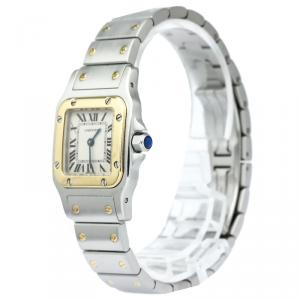 Cartier White 18K Yellow Gold & Stainless Steel Santos Galbee Women's Wristwatch 24MM