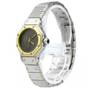 Cartier Grey 18K Yellow Gold & Stainless Steel Santos Octagon Women's Wristwatch 24MM