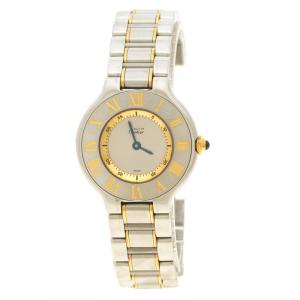Cartier Silver Stainless Steel and Gold Must de Cartier Women's Wristwatch 28 mm