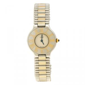 Cartier Cream Stainless Steel Must De Cartier 21 Women's Wristwatch 28 mm