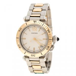 Cartier White 18K Yellow Gold and Stainless Steel Pasha De Cartier 1034 Women's Wristwatch 35 mm