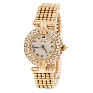 Cartier Cream Yellow Gold and Diamond Colisee 1628 Women's Wristwatch 24 mm
