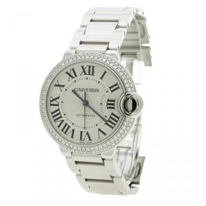 Cartier Silver Grey 18K White Gold & Diamonds Ballon Bleu De Cartier 3004 Women's Wristwatch 36 mm