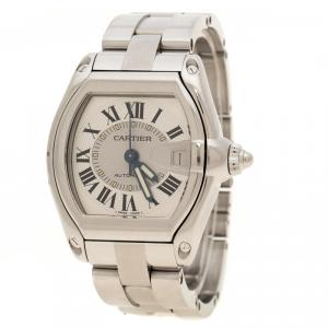 Cartier Silver Grey Stainless Steel Roadster 2510 Women's Wristwatch 38 mm