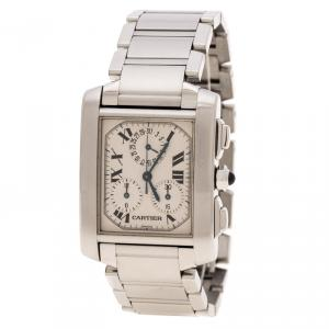 Cartier Cream Stainless Steel Tank Francaise 2303 Women's Wristwatch 28 mm