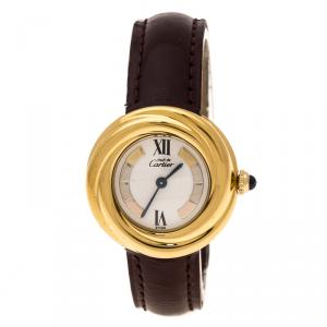 Cartier White Dial 18K Yellow Gold Plated Silver Must de Cartier 2735 Women's Wristwatch 27 mm