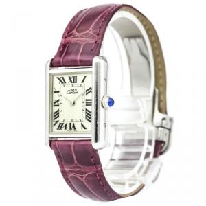 Cartier Silver Stainless Steel Must Tank Women's Wristwatch 22MM