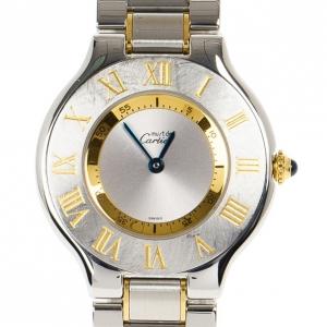 Cartier Silver Stainless Steel Must de Cartier 21 Women's Wristwatch 30MM