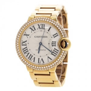 Cartier Ballon Bleu 18k Yellow Gold & Diamonds 3002 Women's Wristwatch 36MM