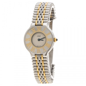 Cartier Cream 18K Yellow Gold and Stainless Steel Must De Cartier 21 125000P Women's Wristwatch 28 mm