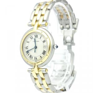 Cartier Ivory 18K Yellow Gold and Stainless Steel Panthere Vendome Women's Wristwatch 30MM