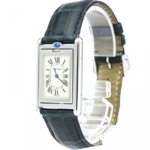 Cartier Silver Stainless Steel Tank Basculante Women's Wristwatch 24MM