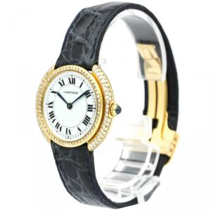 Cartier White 18K Yellow Gold Diamond Vendome Women's Wristwatch 33MM