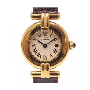 Cartier Ivory Gold Plated Sterling Silver Must de Cartier Colisee Women's Wristwatch 24MM