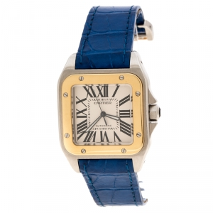 Cartier Silver Santos 100 18k Yellow Gold & Stainless Steel Women's Wristwatch 42MM