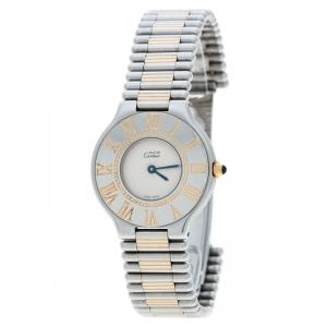 Cartier Cream Stainless Steel Must de Cartier Women's Wristwatch 31 mm