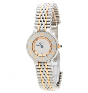 Cartier Silver Grey 18K Yellow Gold Plated and Stainless Steel Must de Cartier 21 1340 Women's Wristwatch 28 mm