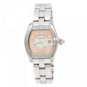 Cartier Peach Stainless Steel And Diamonds Roadster 2675 Women's Wristwatch 31 mm