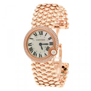 Cartier Mother of Pearl 18K Rose Gold Diamonds Ballon Blanc de Cartier 3722 Women's Wristwatch 30 mm