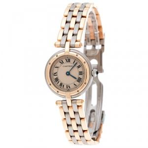 Cartier Beige 18K Yellow Gold Stainless Steel Panthère Vendôme 166920 Women's Wristwatch 24 mm