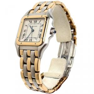 Cartier Silver 18K Yellow Gold and Stainless Steel Panthere de Cartier Women's Wristwatch 26MM