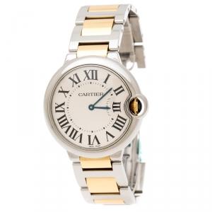 Cartier Silver Stainless Steel 18K Yellow Gold Ballon Bleu 3005 Women's Wristwatch 36 mm