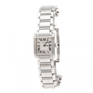 Cartier Cream Stainless Steel Tank Française 2384 Women's Wristwatch 20 mm