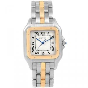 Cartier Silver 18K Yellow Gold and Stainless Steel Panthere 187957 Women's Wristwatch 29MM