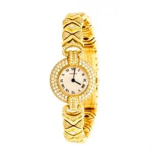 Cartier Cream 18K Yellow Gold Diamonds Rivoli Colisée 881092 Women's Wristwatch 24 mm