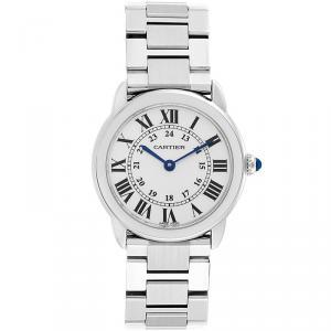 Cartier Silver Stainless Steel Ronde Solo W6701004 Women's Wristwatch 29MM